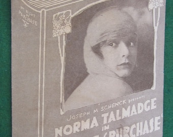 Original 1920's Norma Talmage Hollywood Movie Promotional Flyer - By Right Of Purchase - Free Shipping