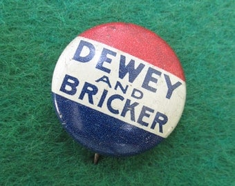 1948 Thomas Dewey Presidential Campaign Pin Back Button - Free Shipping
