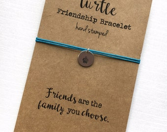 Friendship Bracelet SEA TURTLE  Hand Stamped silver disc ~ Waxed Cotton Cord ~ Friends are the family you choose ~ adjustable choose a color