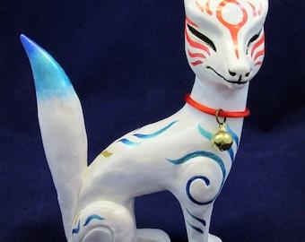 White Japanese Kitsune Fox Statue Sculpture Zenko Inari