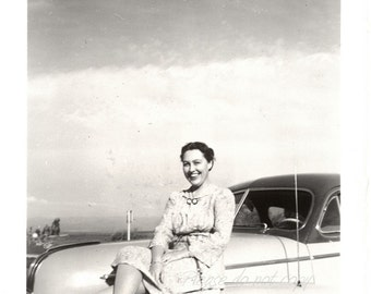 pretty bumper gal ~ Vintage Snapshot Photo ~ lots of chrome!