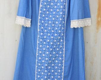 Plus Size Hippie Dress - Tall Embroidered Dress - Crochet Lace Trim Dress - Blue Floral Maxi Dress - Bell Sleeve Dress - Bohemiam Dress