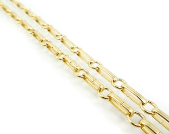 Vintage Chain Link Necklace, Gold Tone, Long