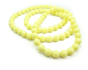 Vintage Yellow Pop Beads Necklace, Lucite, Snap Beads