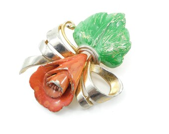 Vintage Enamel Flower Brooch, Red, Green, Gold Tone
