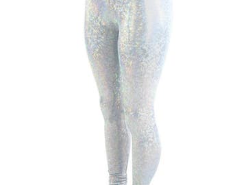 Frostbite Shattered Glass Hologram Holographic Holo High Waist Lycra Spandex Leggings - 154354