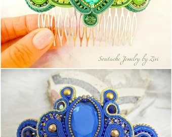 Custom Color Soutache Hair Comb, Bridal  Hair Comb Fascinator, Bridesmaid Hair Accessory, Custom Color Fascinator, Spanish Style Hair Comb
