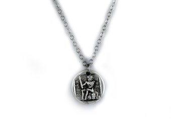 Greek Coin Necklace, Hercules and Griffin Pendant Charm, Coin Jewelry, Men Necklace