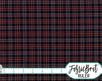 NAVY BLUE and RED Plaid Homespun Fabric by the Yard Fat Quarter Rustic Tartan Fabric 100% Cotton Quilting Fabric Apparel Fabric Yardage w5-1