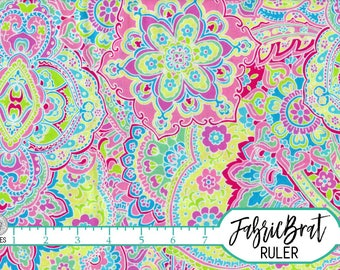 PINK & AQUA Floral Fabric by the Yard Fat Quarter Large Floral Fabric Medallion Quilting Fabric Apparel Fabric 100% Cotton Fabric a2-17