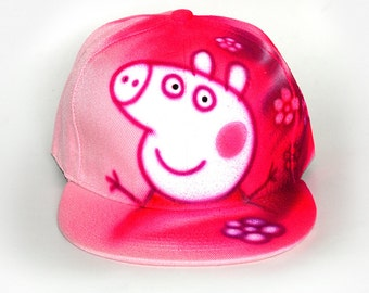 Pink pig Snapback Hat Baseball Cap best gift for girls Custom airbrushed GRAFFITI hat Hand painted Personalized with custom name or initials