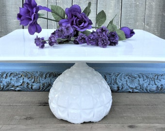 The Victorian...Wedding Cake Stand/Grand Display Stand/Vintage Inspired Beach or Rustic Cake Stand/12 Inch Square Cake Pedestal Cake Plate
