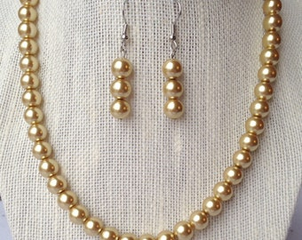 Gold Pearl Necklace, Bridesmaid Wedding Jewelry, Gold Wedding Necklace, Bridal Party Gifts, Gold Bead Necklace, Gold Pearl Earrings