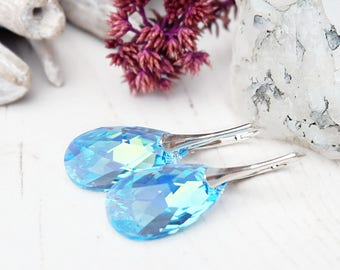Sterling Silver Swarovski crystals earrings Aquamarine Swarovski jewellery Wedding bridesmaids earrings Sky blue gold teardrop earrings 1