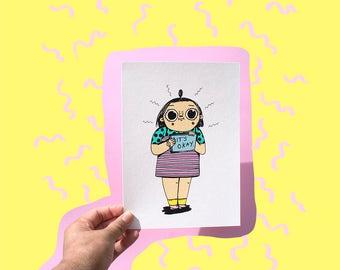 "Cute Art Print, ""Its Okay, Okay?"" A5 Giclee Print, cute print, it's okay to be sad, pey chi, cute art, home decor, cute art print a5,"