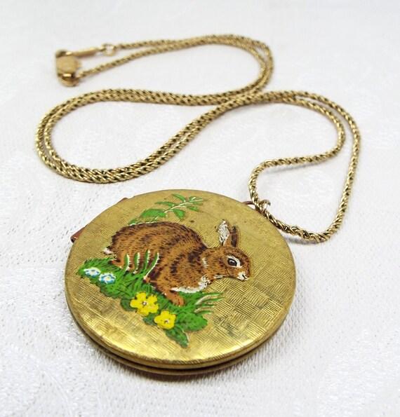 SALE! Vintage Mid Century Gold Brown Bunny Rabbit Circlular Locket Pendant Necklace