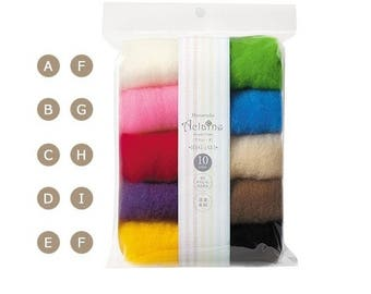 Japan Wool Needle Felting Aclaine Series 10 color Hamanaka H441-142-1 Short Fiber Fast Felt Colorful rainbow set floating, flexible, special