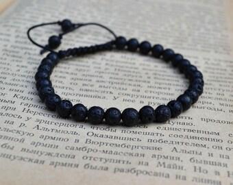 Black Lava bracelet. 6 mm bracelet. Mens Bracelet.
