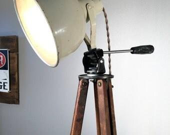 Industrial Lighting, Wood Tripod Lamp, Industrial Floor Lamp, Bretford Floor Lamp, Mid Century Modern, Man Cave Lamp, Industrial Light