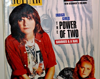 Vintage Acoustic Guitar Magazine (c.1991) Indigo Girls, Guitar Music, Ralph Towner, Dan Crary, Collectible, Vintage Indigo Girls, Gift Idea