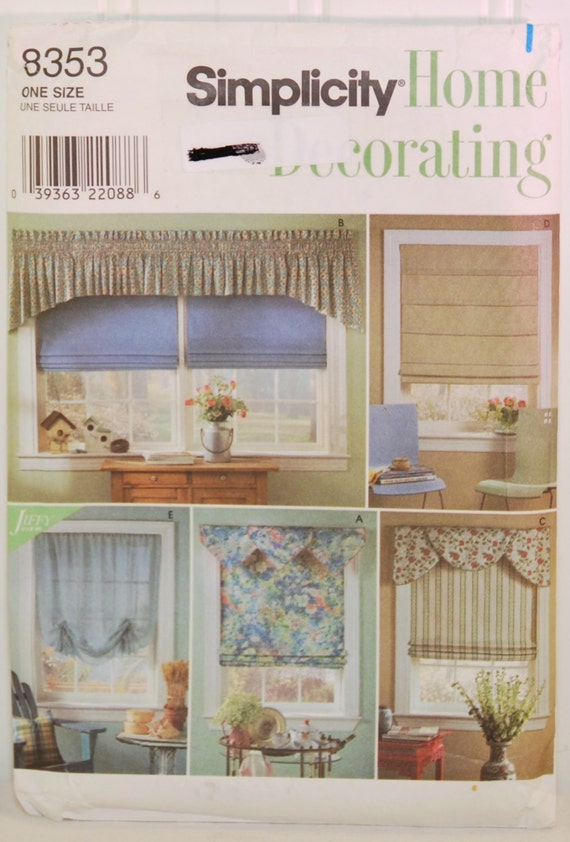 Simplicity Home Decorating 8353 C 1998 Roman Shades Valance Swags Home Decor Window Treatments Sewing Living Room Kitchen Bedroom From