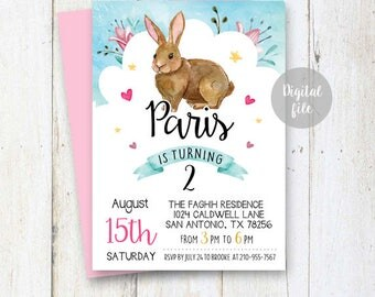 2nd Birthday Bunny Easter Invitation l Vintage Bunny First Birthday Invite l Some Bunny Turns Two l Second Birthday invitation DIGITAL file!