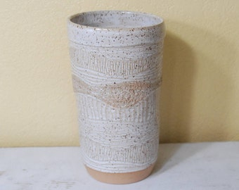 Tall Landscape Vase, Creamy White with unique tooled details, Brown speckled details, beige,  Flower Vase, Ceramic, Stoneware. FREE SHIPPING