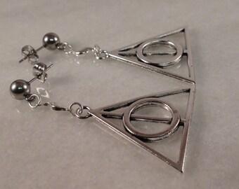 Harry Potter Earrings, Deathly Hallows Earrings, Stud Earrings, Silver Earrings, Long Earrings, Gift