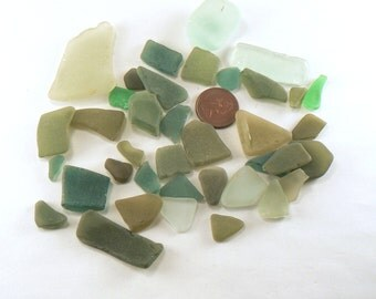 38 PCS Genuine Beach Glass - Green Sea Glass - Bulk Beach Glass - Lot #1