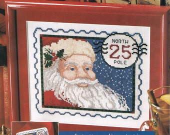 CROSS STITCH PATTERN - Santa Claus Stamp Counted Cross Stitch Pattern - Christmas Cross Stitch Chart