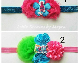 Poppy Trolls inspired headband or hairclip, Trolls birthday party inspired outfit