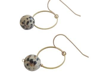 Geometric Earrings; Circle Jewelry; Geometric Jewelry; Circle and Dalmatian Jasper; Circle Earrings; Jasper Earrings; geometric Earrings