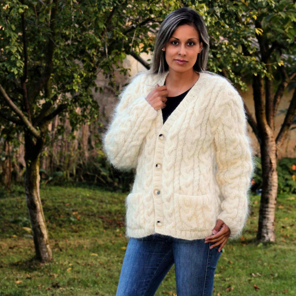 Hand Knitted Mohair Cardigan White Cable Fuzzy Sweater Coat
