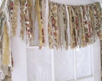 Shabby chic kitchen curtains etsy Shabby chic curtain window