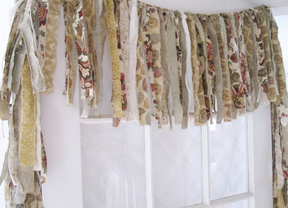 Kitchen Window Valance Rustic, Shabby Chic Valance, Rag Valance ...