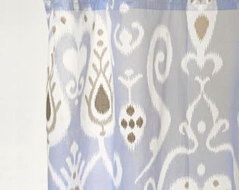 blue ikat curtain panel cotton voile printed curtain sheer drape sizes available