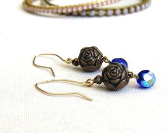 Bronze Rose Earrings with Sapphire Blue Crystals, Dangle Flower Wedding Drop Earrings, Victorian Inspired, Romantic Retro