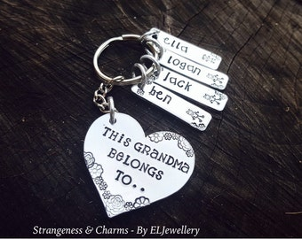 Hand Stamped 'This Grandma Belongs To..'  Heart Keychain, Nanny, Nan,Grandma Keyring, Children's Names, Gifts for Family, Stamped Metal.