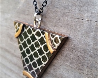 Gold and Silver Polymer Clay Necklace Pendant