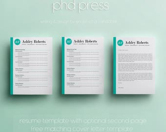 Modern Resume Template & Cover Letter Template - Creative Resume Template - Microsoft Word Document - CV Template - A4 Format and US Letter