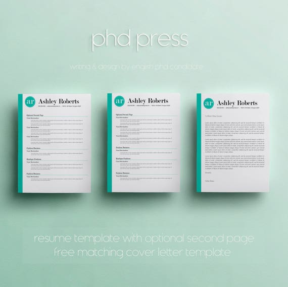 Resume Template Cv Template The Ashley Roberts By Phdpress: Modern Resume Template & Cover Letter Template Creative