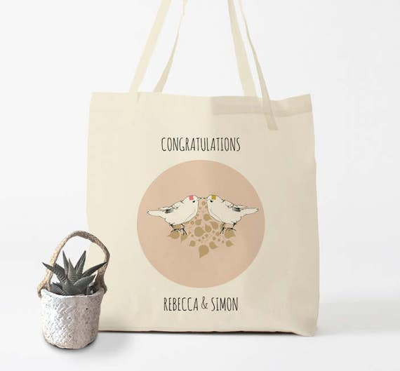 Congratulations, custom Tote Bag, canvas bag, wedding bag, groceries bag, cotton tote, laptop bag, gift for bride and groom,gift coworker.