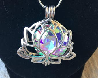 Beautiful Lotus Flower Necklace with Iridescent Stone