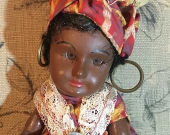 Vintage/Antique SFBJ Paris Composition Souvenir Doll (Cabinte Size) in Red Plaid Dress