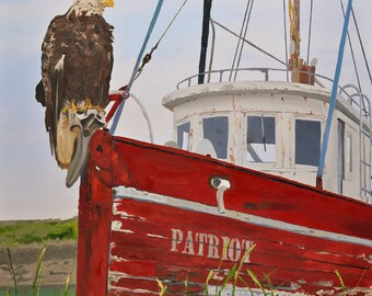The Patriot,  Eagle on old Alaskan boat - Ltd. ed. of 400, Giclée of Bald Eagle perched on old fishing boat