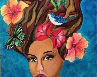 Original Lady Nouveau Portrait Frida Kahlo Style Flower Nature Acrylic Painting Bold Modern Art Abstract Contemporary Wall Art