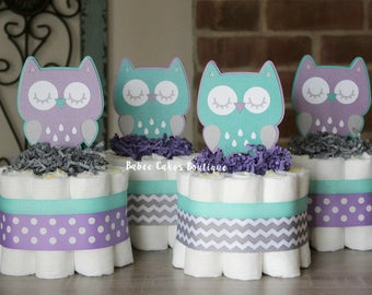 SET OF 4 Mini Purple, Gray and Teal Owl Diaper Cakes, Girls Owl Baby Shower, Purple, Grey Owl Centerpiece, Decorations, Woodland