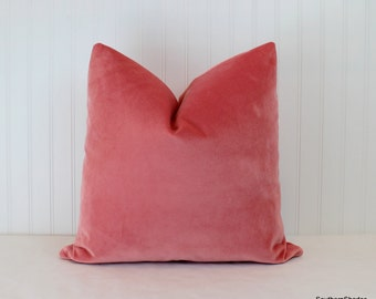 Both Sides - ONE Velvet Coral Pillow Cover with Knife Edge