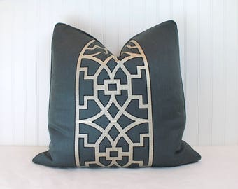 One or Both Sides - ONE Schumacher Mary McDonald Don't Fret Bleu Marine Pillow Cover with Self Cording