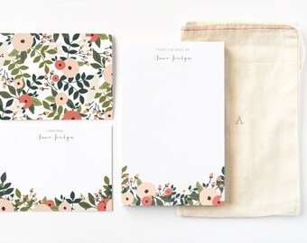 Personalized Stationery Set | Illustrated Floral Stationery Gift Set with Custom Notepad, Flat Cards, and Notecards : Rosy Grove